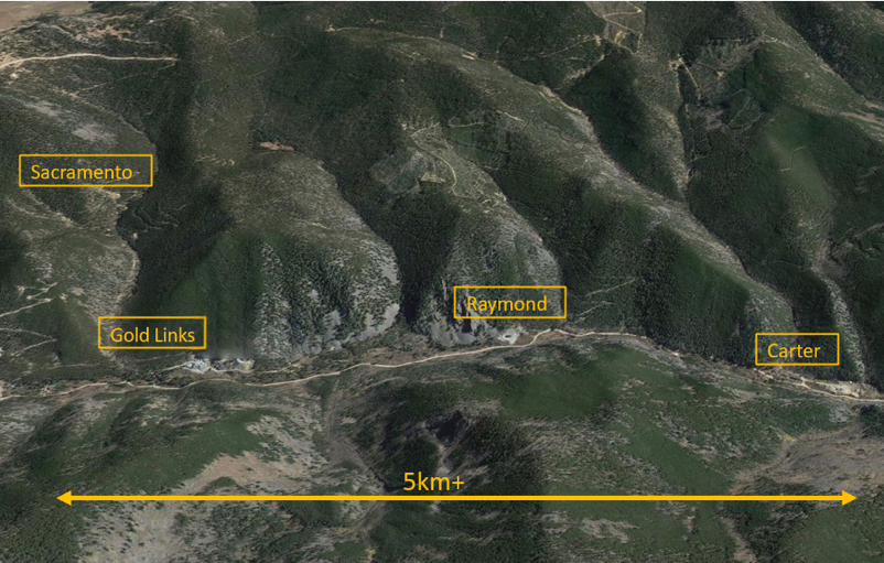 The Gold Links Project includes the Gold Links Mine, Sacramento Mine, Raymond Mine and Carter Mine over a 3 mile area. Ore from these mines will be processed at the Lucky Strike Mill.